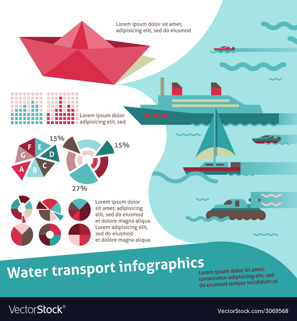 Water transport infographics vector