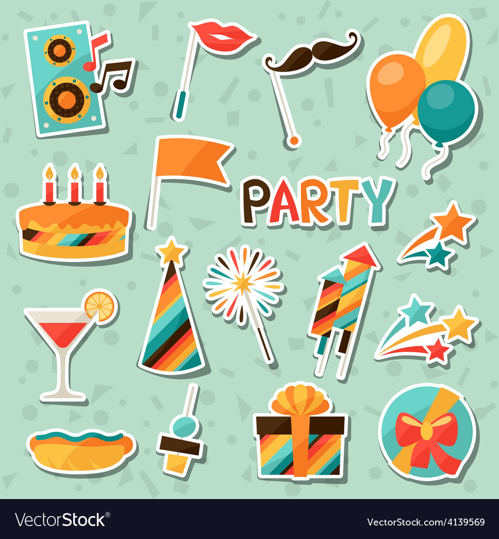Celebration set of party sticker icons and objects vector