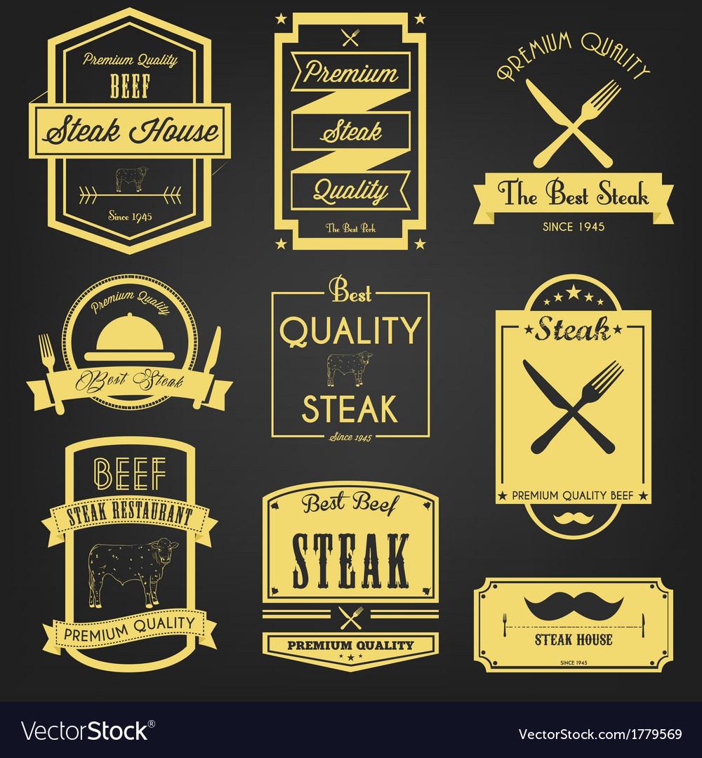 Steak premium label design vector