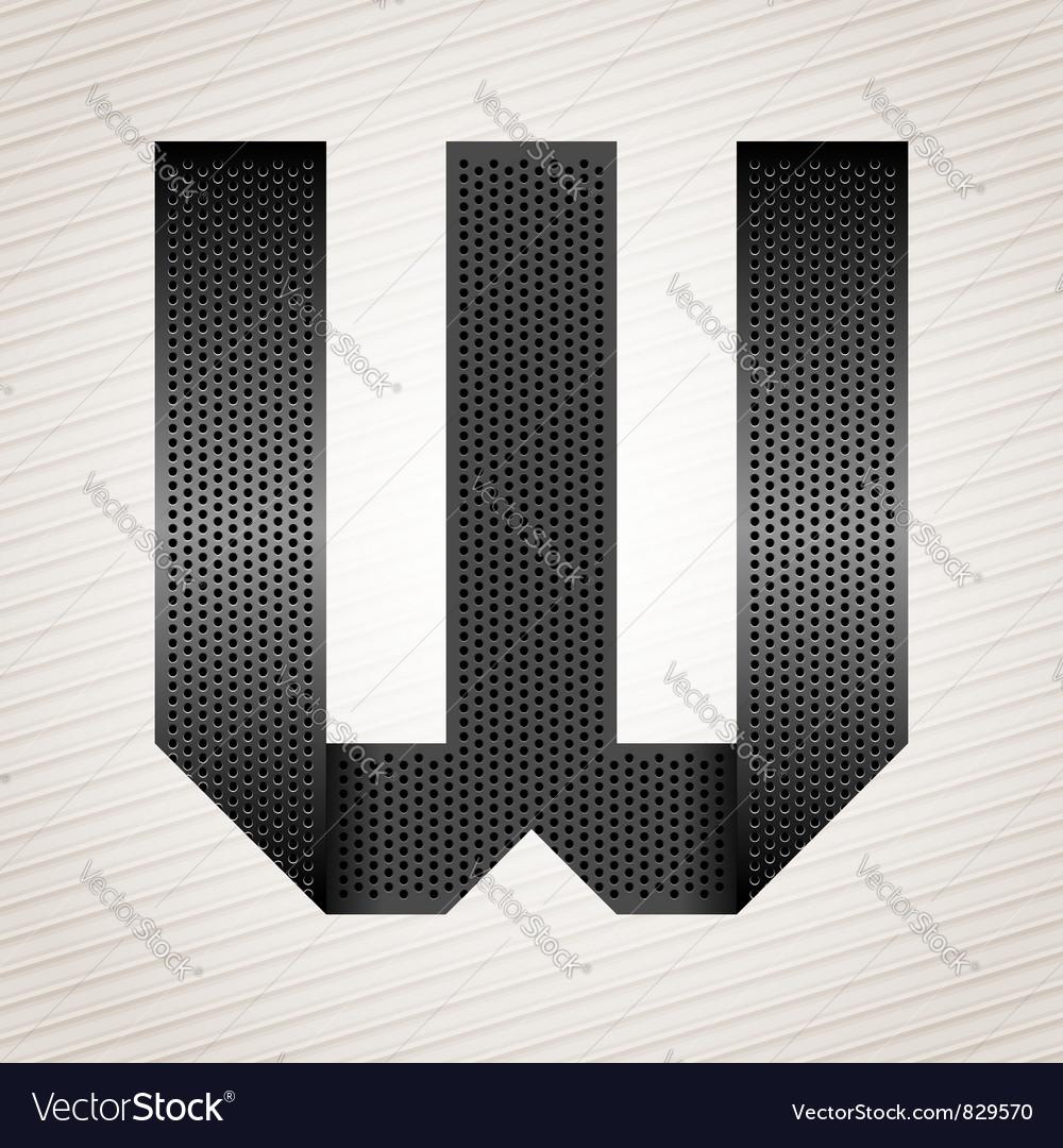 Letter metal ribbon - w vector