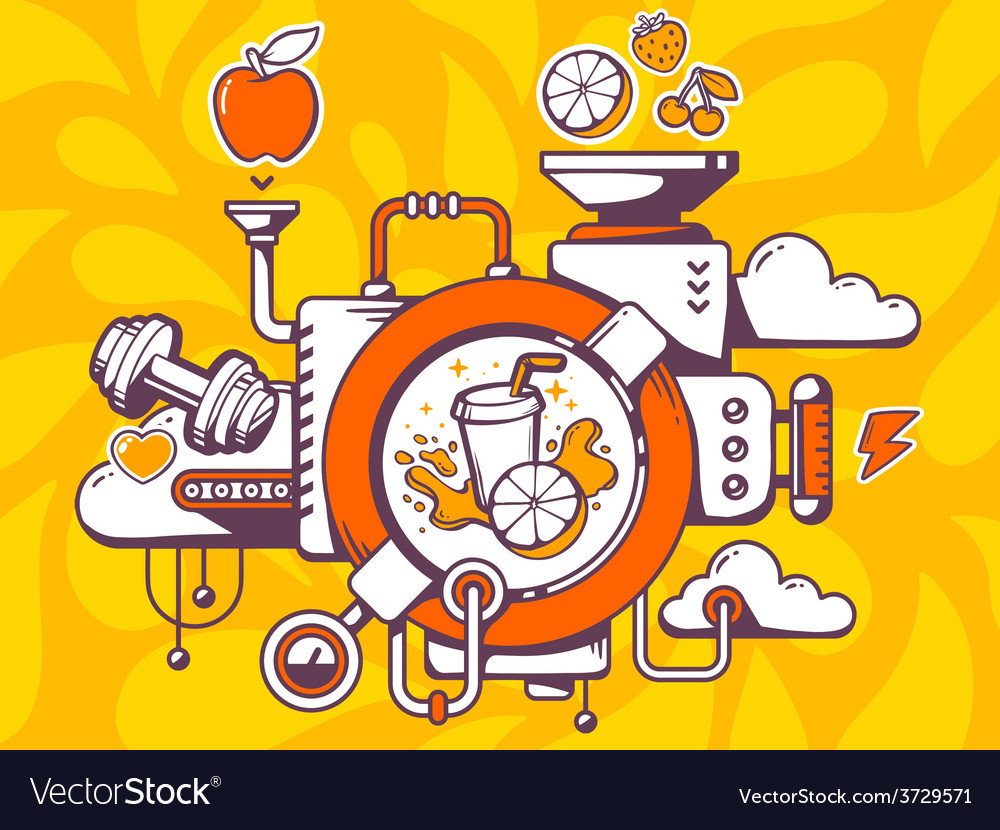 Mechanism with fresh fruit juice and rele vector
