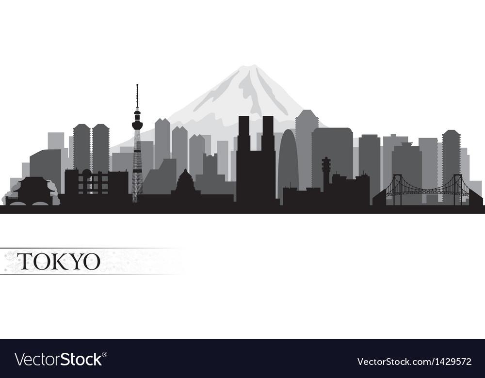 Tokyo city skyline detailed silhouette vector