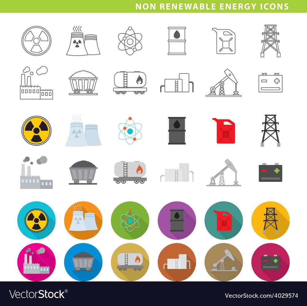Non renewable energy icons vector