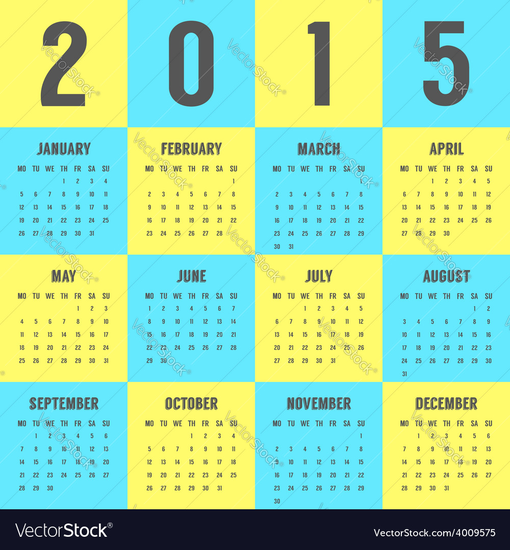 Calendar of 2015 year in the colors of ukrainian vector