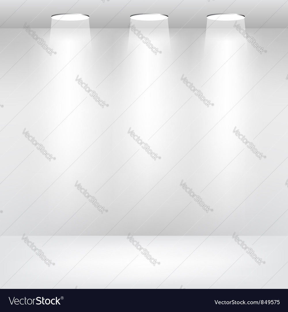 Empty showcase stage with lights vector
