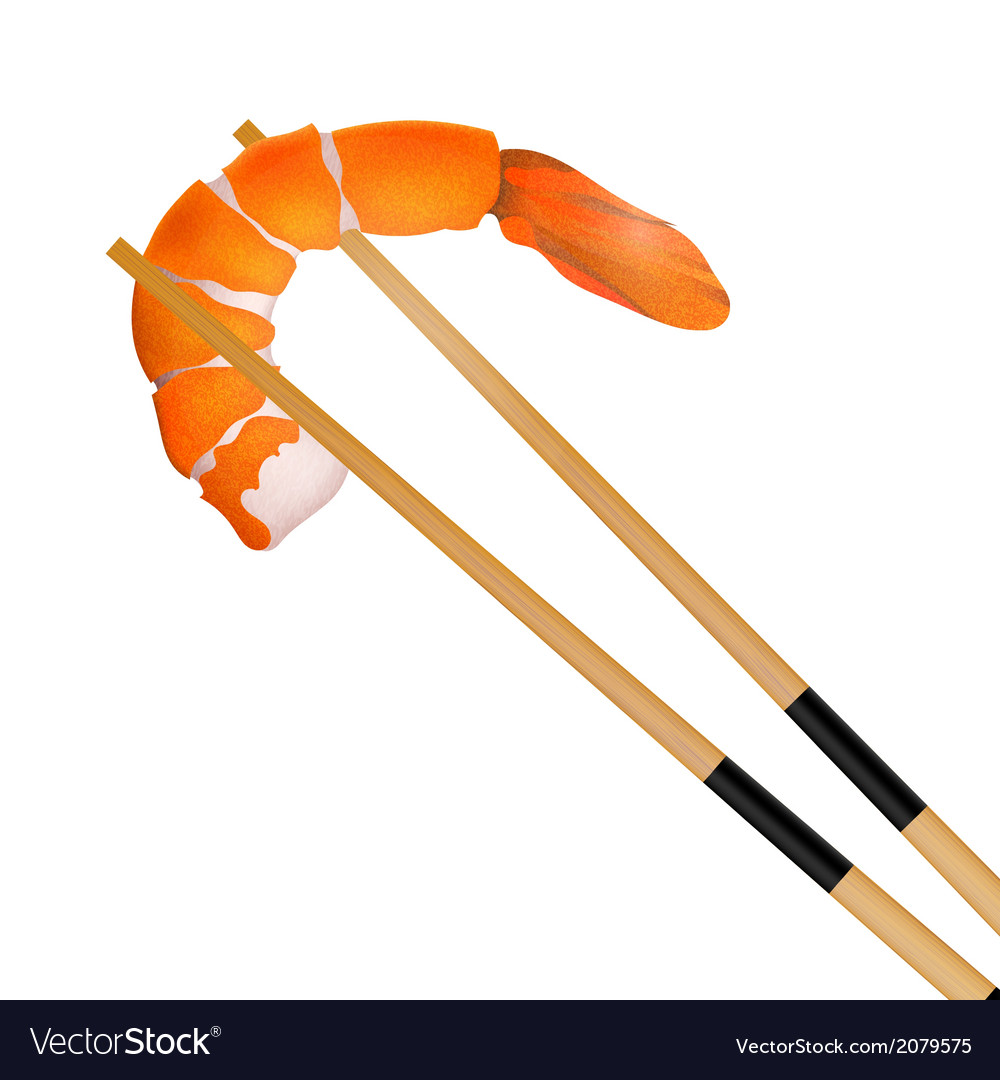 Prawn with chopstick isolated vector