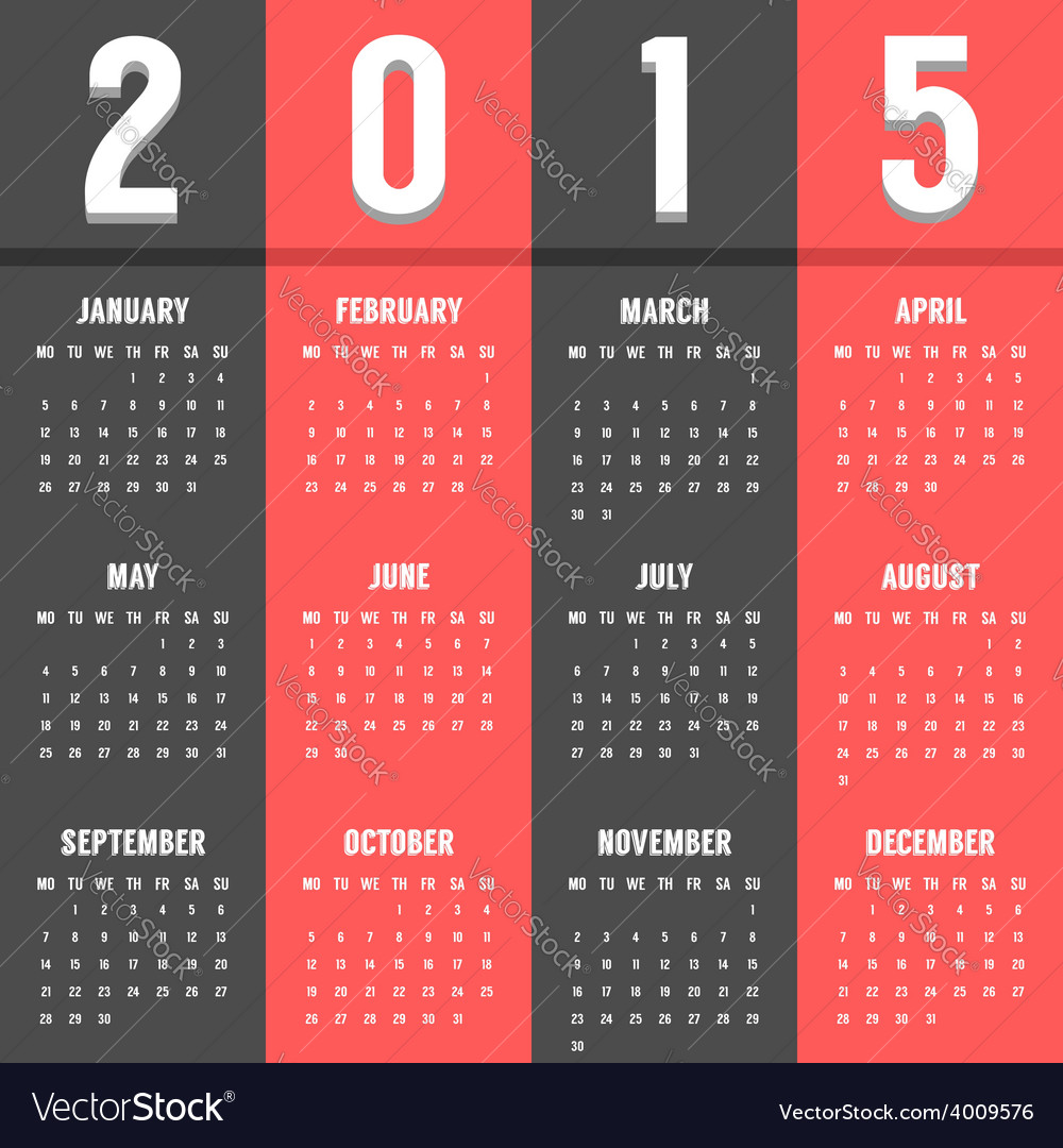 Black and red european calendar of 2015 year vector
