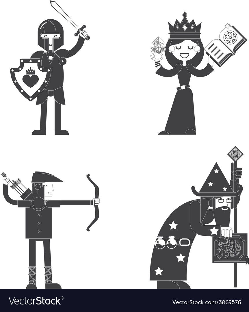 Fantasy characters flat icon vector