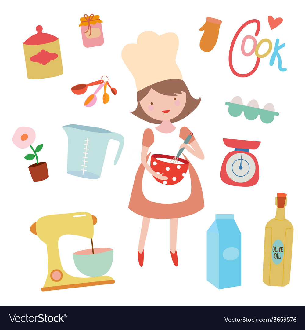 Young girl preaparing sweet food vector