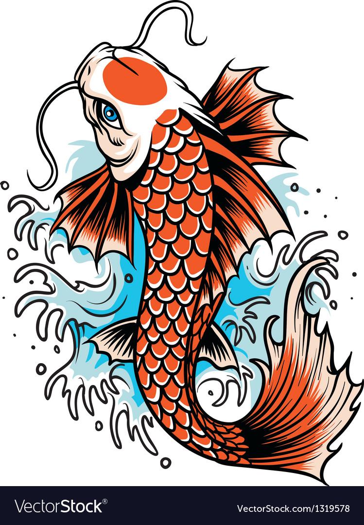 Koi fish tattoo vector