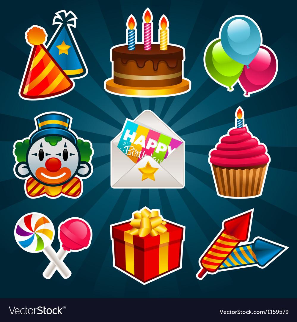 Happy birthday party icons vector