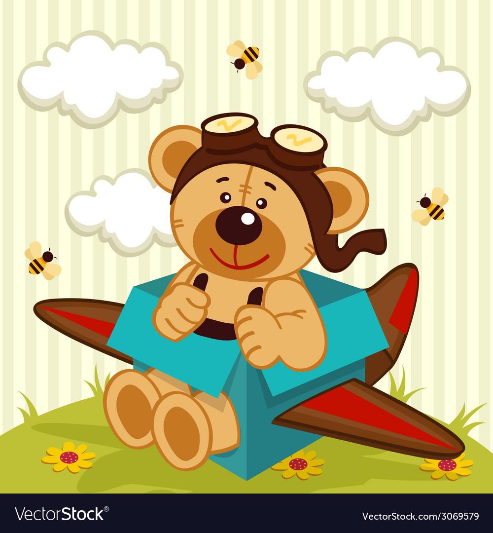 Teddy bear made plane vector