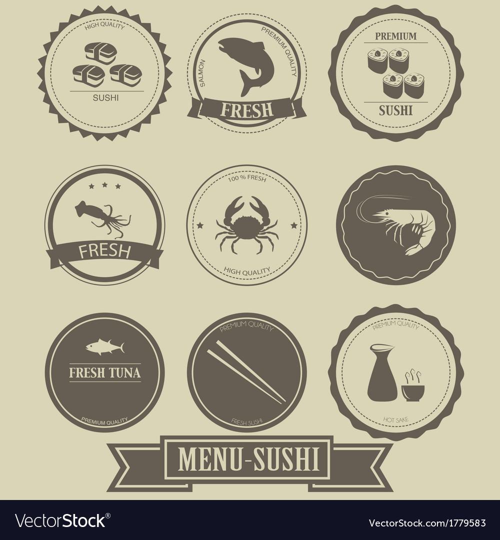 Menu sushi label design vector