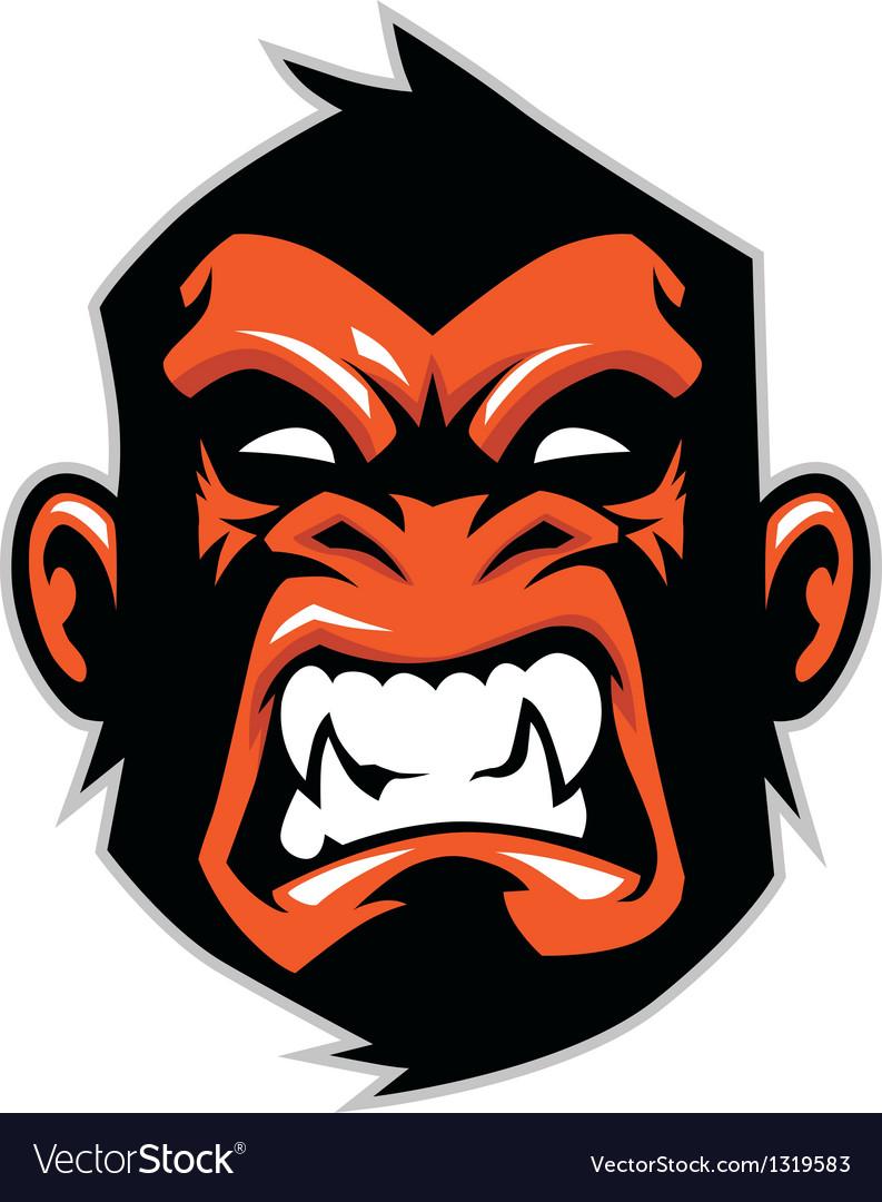 Monkey head mascot vector