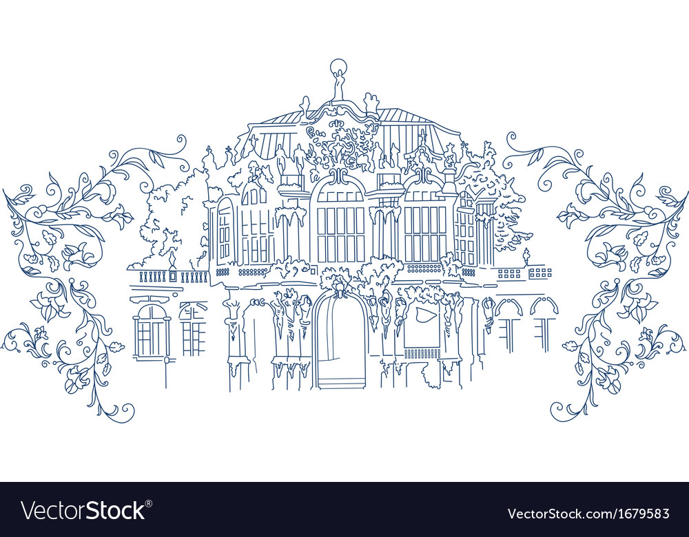Rococo town silhouette with flowers vector