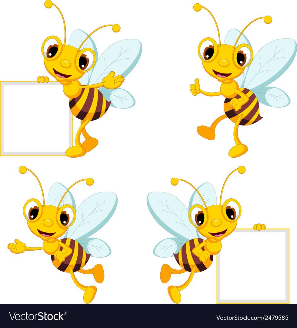 Bee cartoon collection vector
