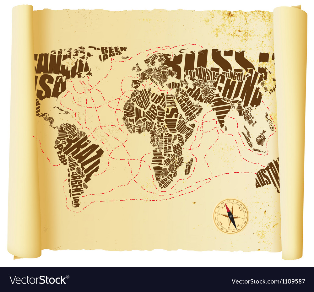 World map drawn by typography vector