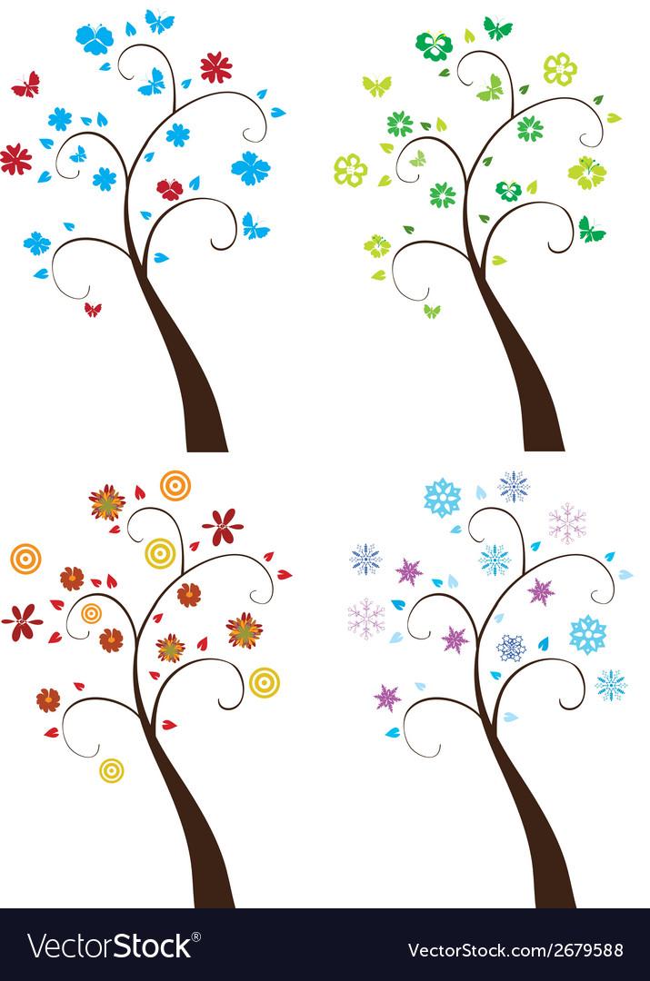 Season trees vector