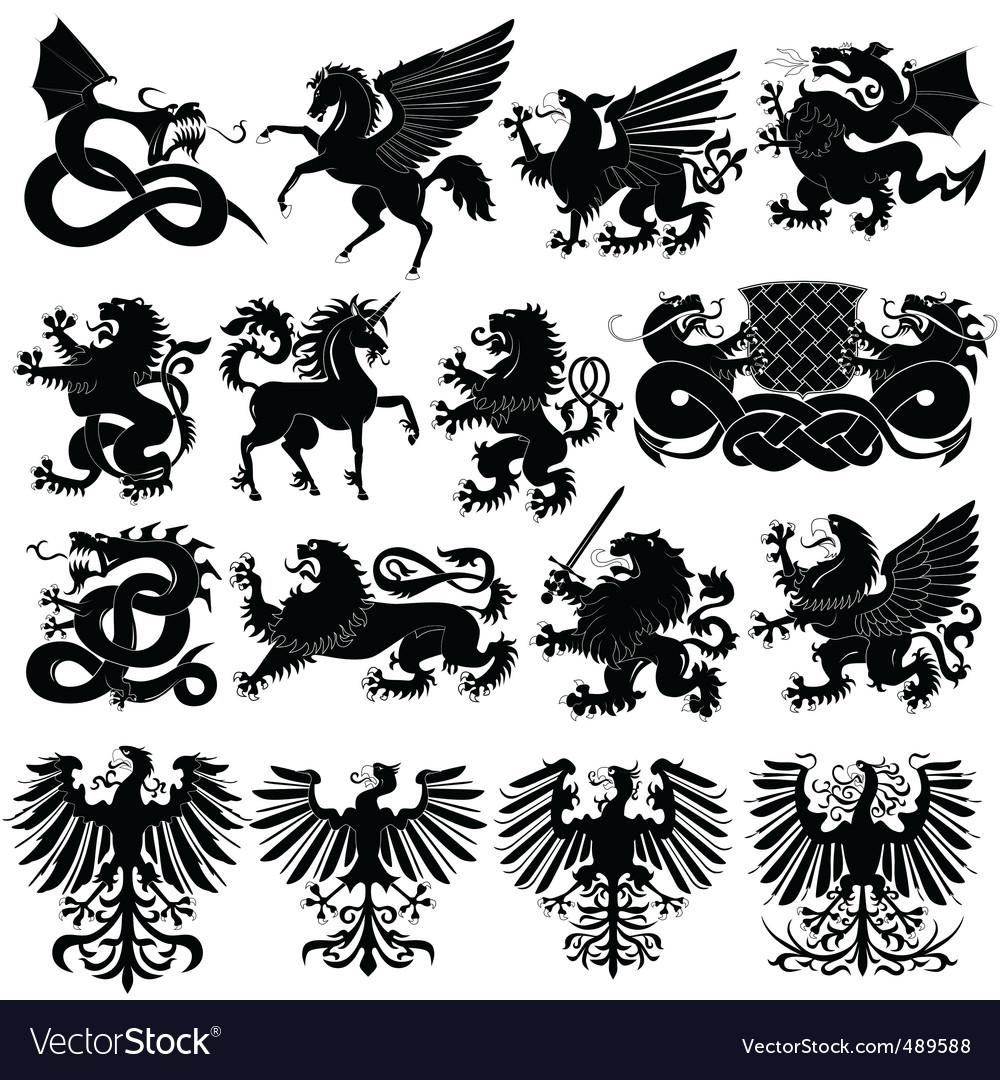Set of heraldic animals vector