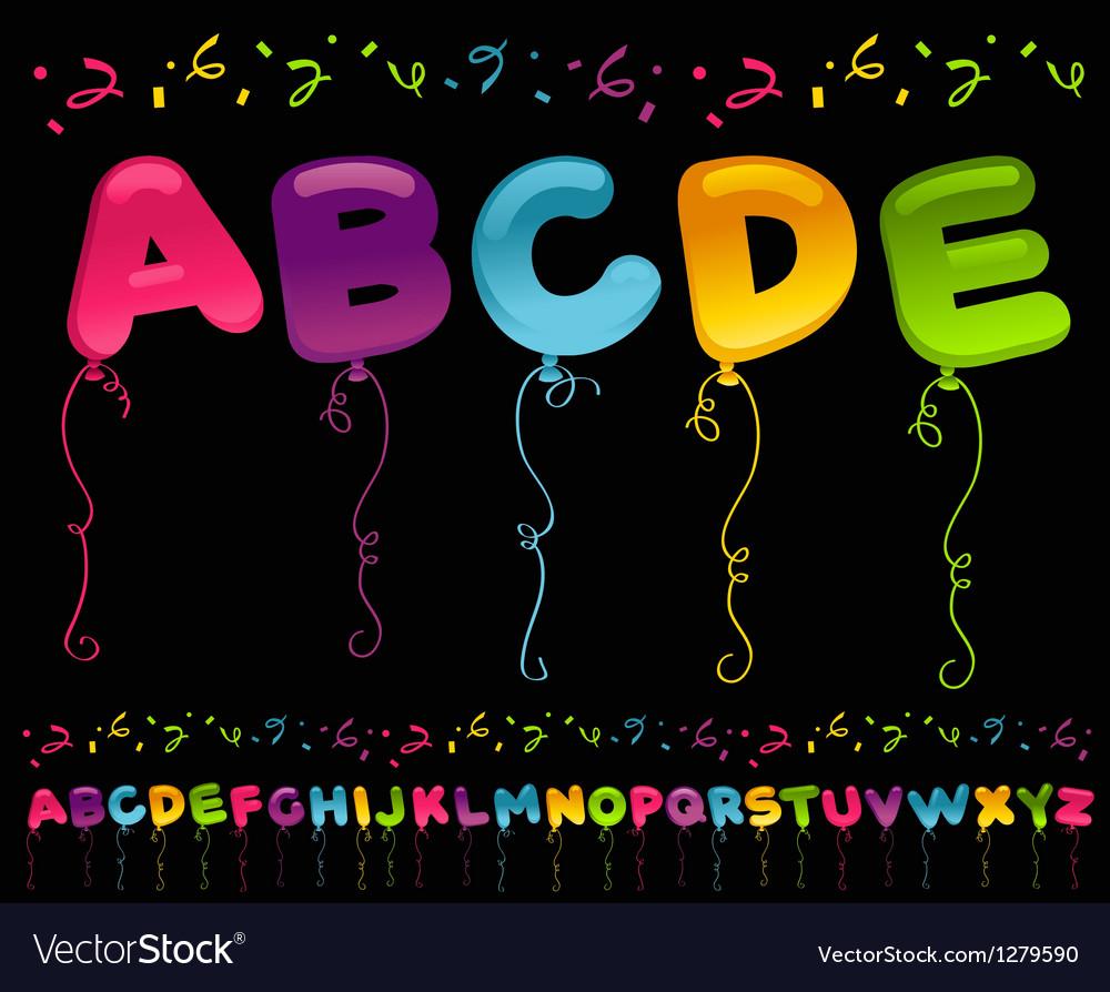 Party balloons alphabet vector