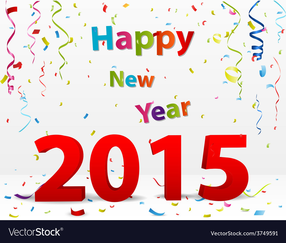 Happy new year celebration with confetti vector