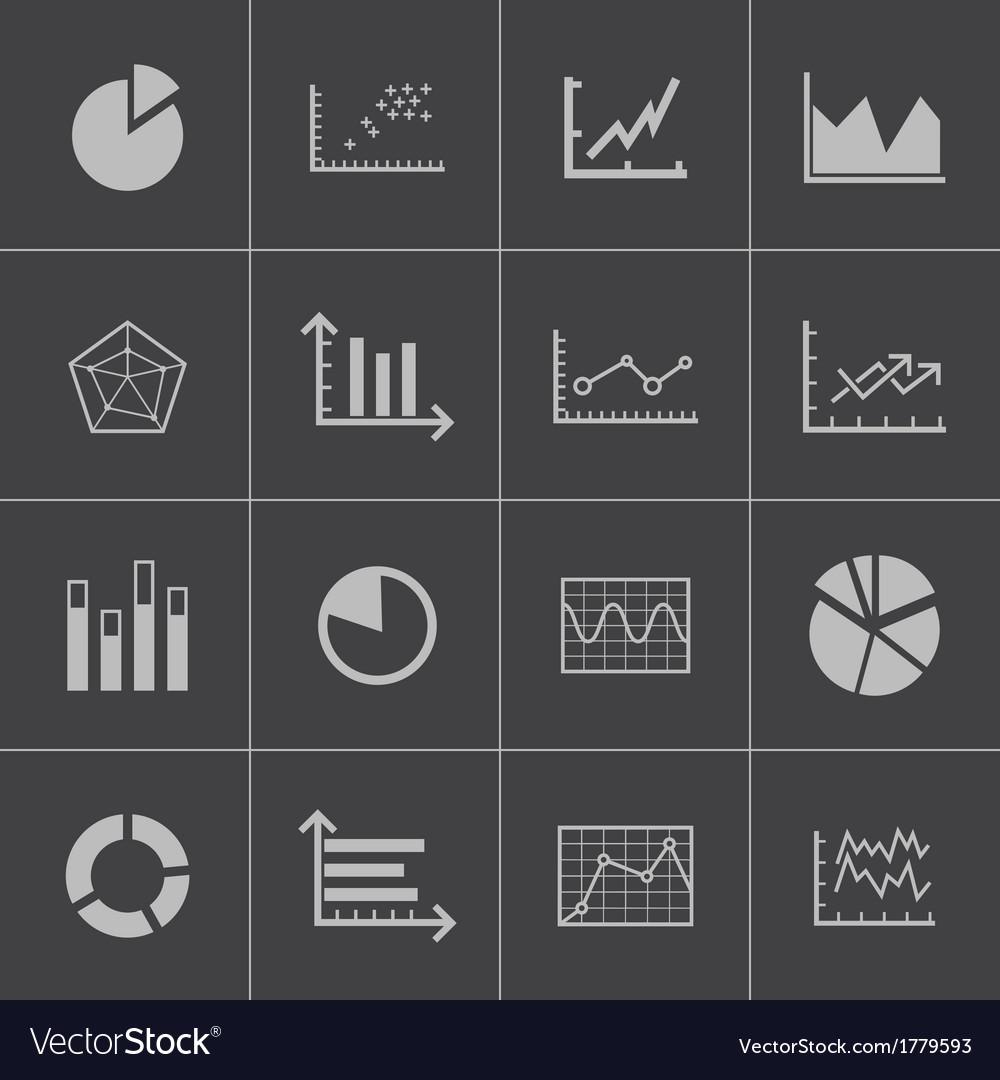 Black diagram icons set vector