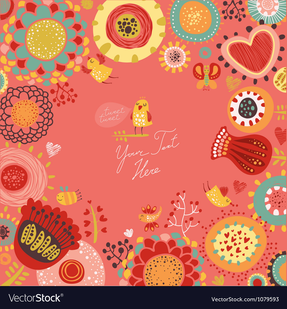 Floral background with funny birds vector