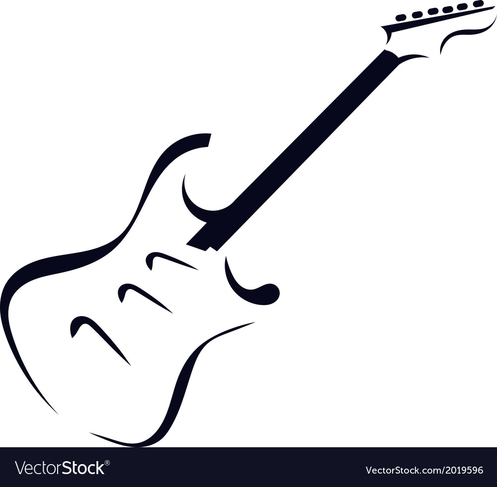 Black silhouette of electric guitar vector