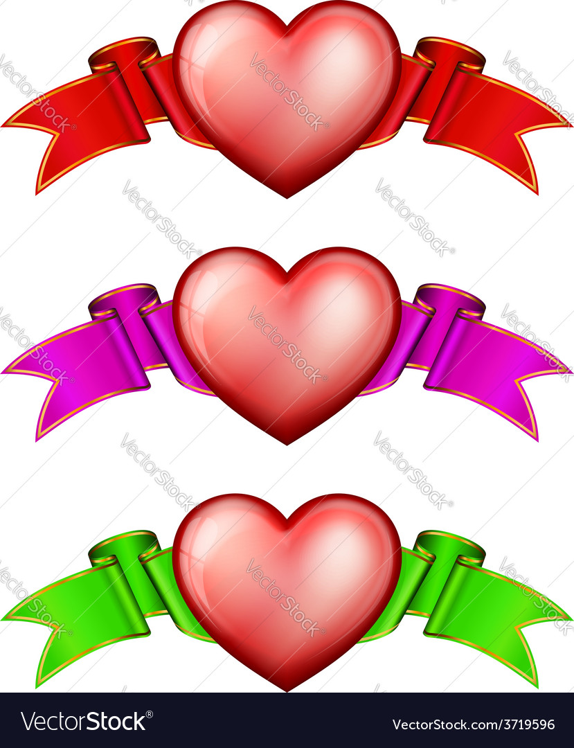 Collection hearts with ribbon vector