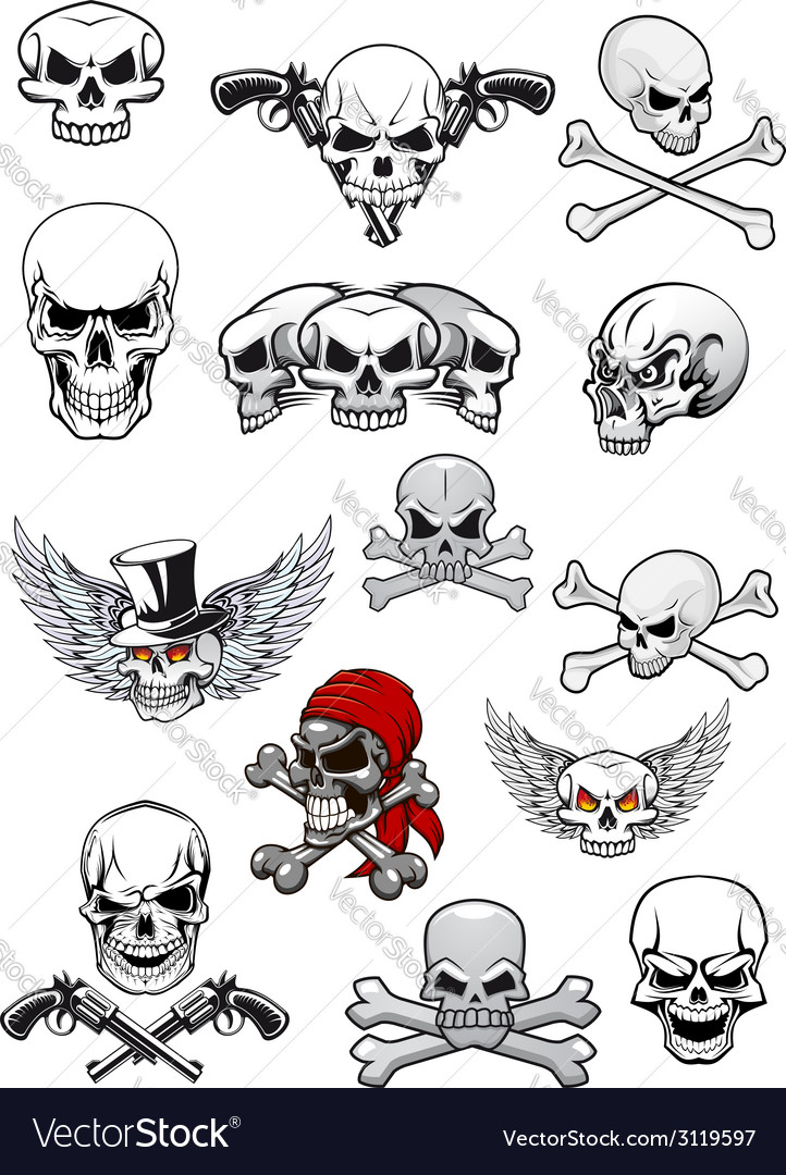Skull characters with crossbones vector