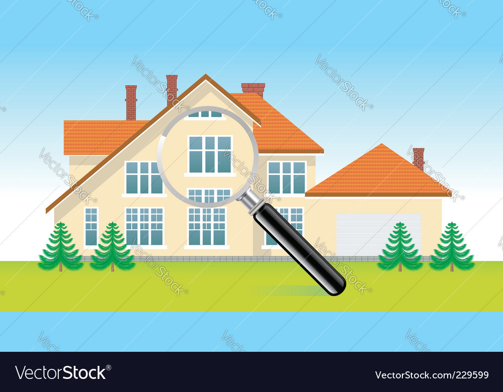 House under magnifying glass vector