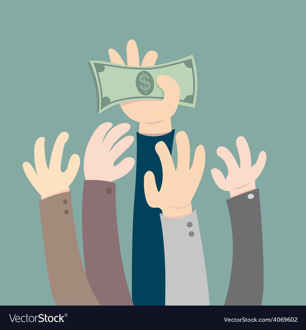Hand holding dollar vector