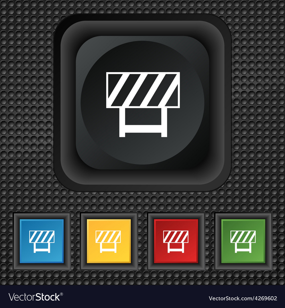 Road barrier icon sign symbol squared colourful vector