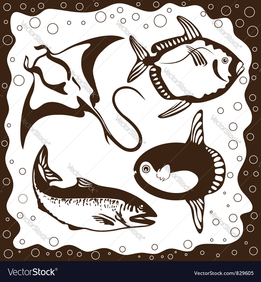 Ocean fish set vector