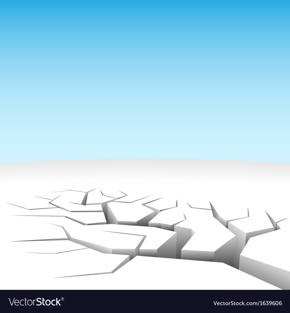 Abstract 3d land cleft isolated on white vector