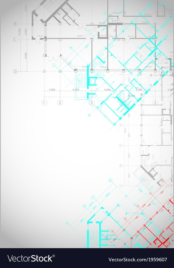 Gray architectural background with building plans vector