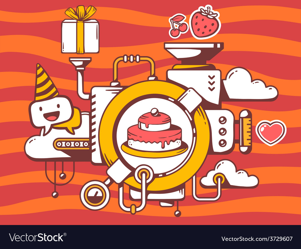 Mechanism to cook cake and relevant icons vector