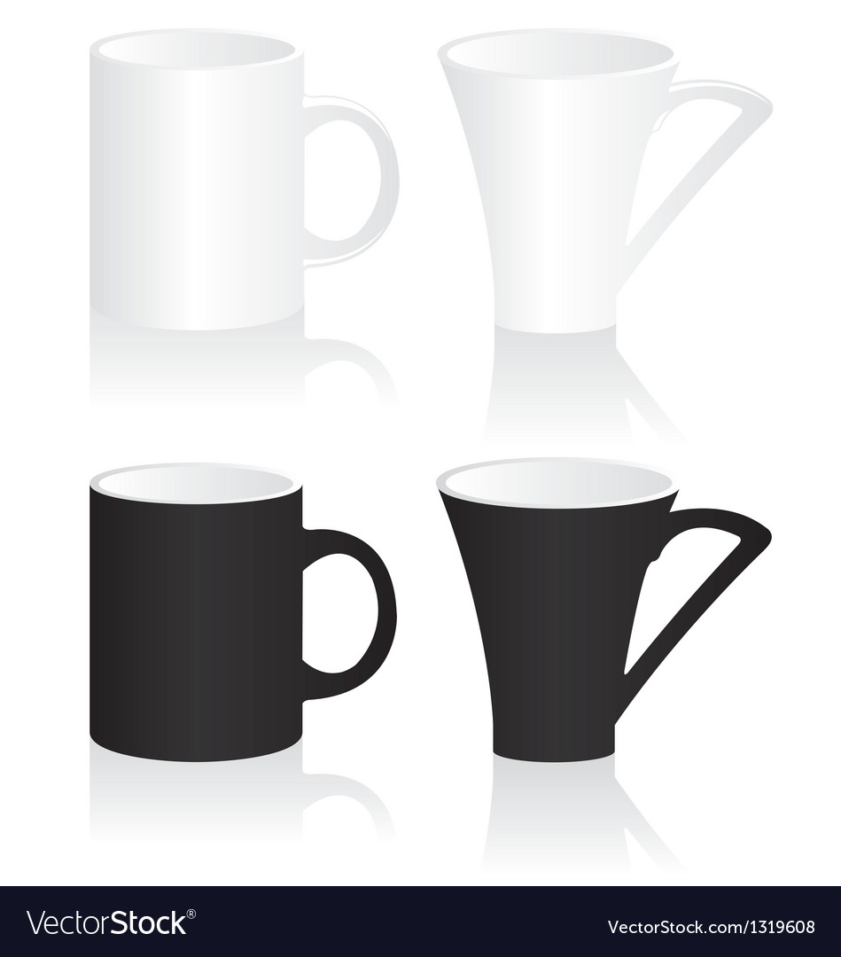 Mug black and white vector