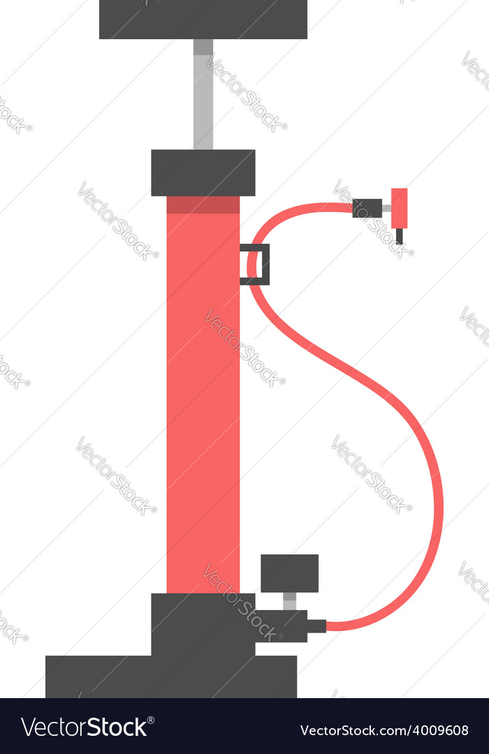 Red bicycle pump on white background vector