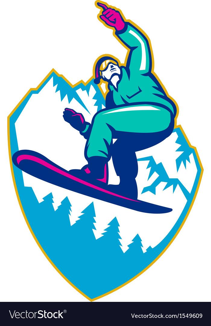 Snowboarder holding snowboard alps retro vector