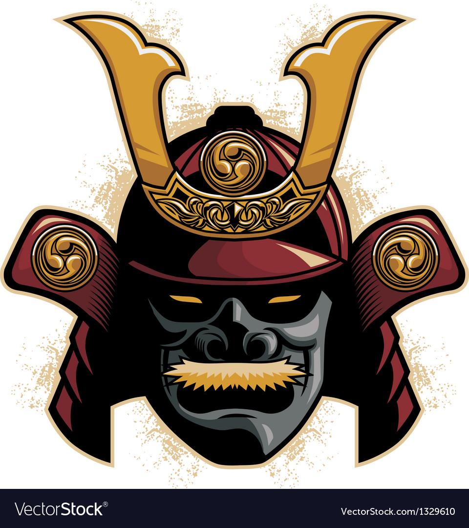 Samurai armor helmet vector