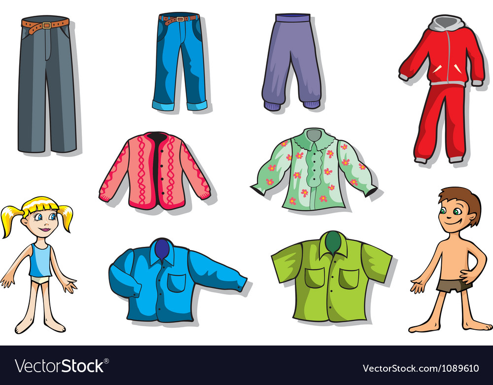 Set of children clothes vector
