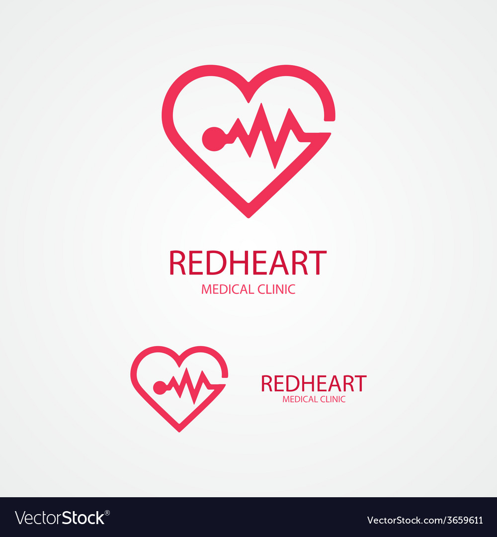 Design logo combination of a heart and pulse vector