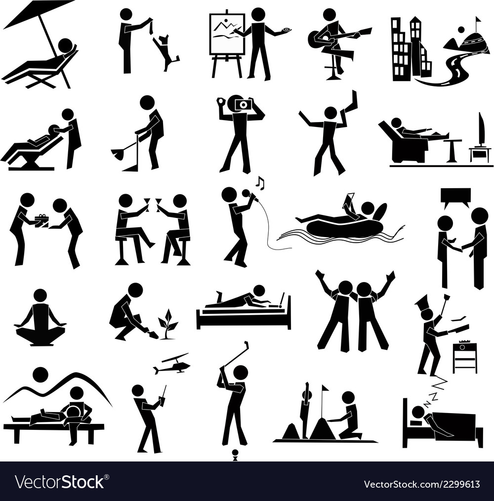 Relaxation icon set vector