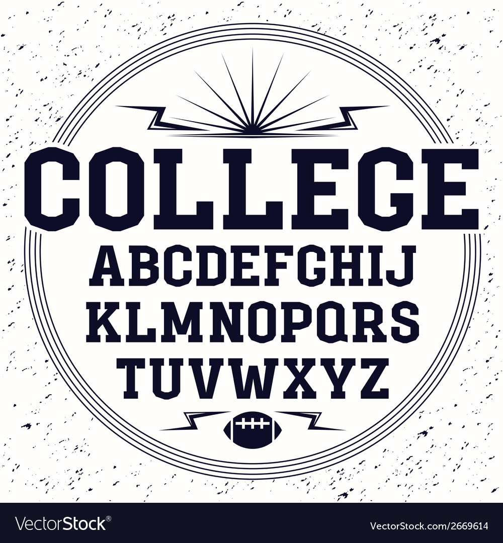 Rectangular serif font in the style of college vector