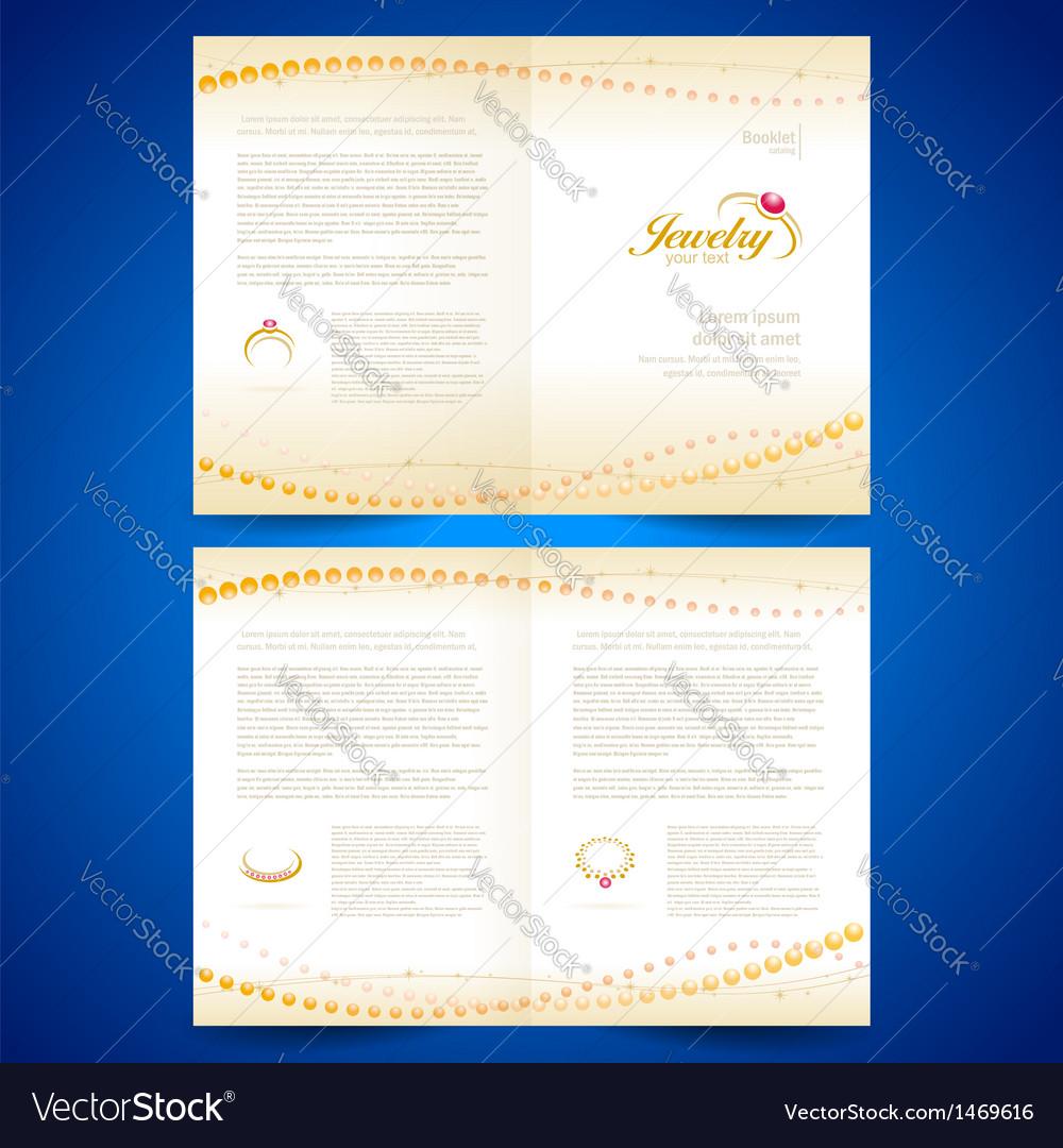 Booklet catalog brochure folder jewelry bijouterie vector