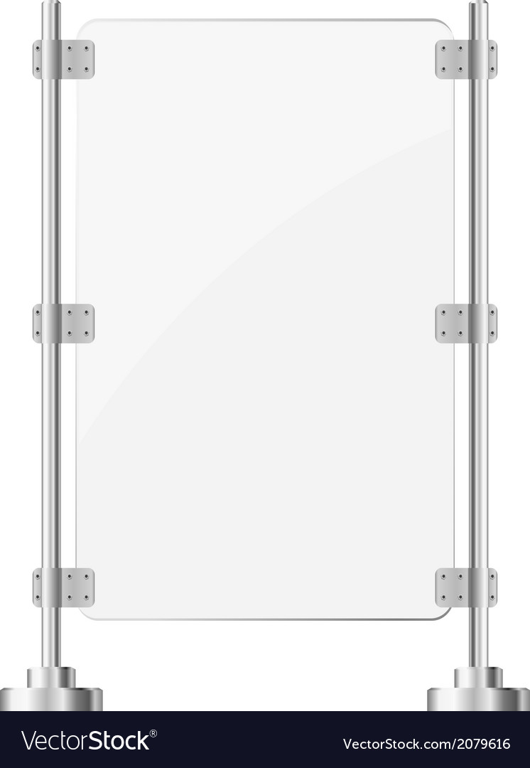 Glass screen with metal racks eps10 vector