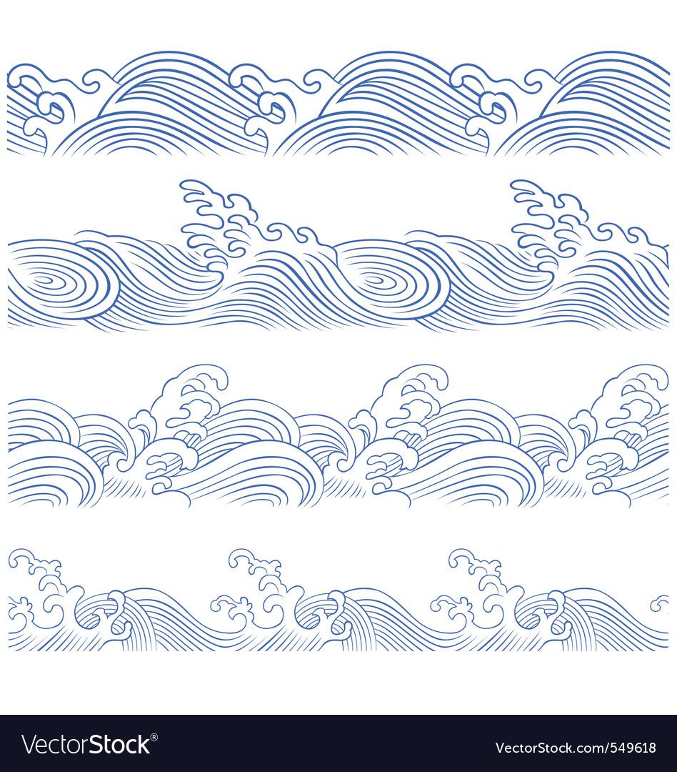 Wave borders vector