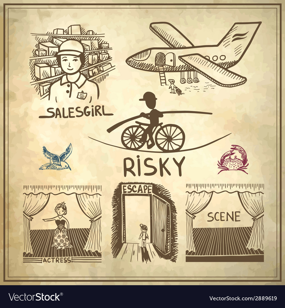 Ink drawing of risky salesgirl scene actress vector