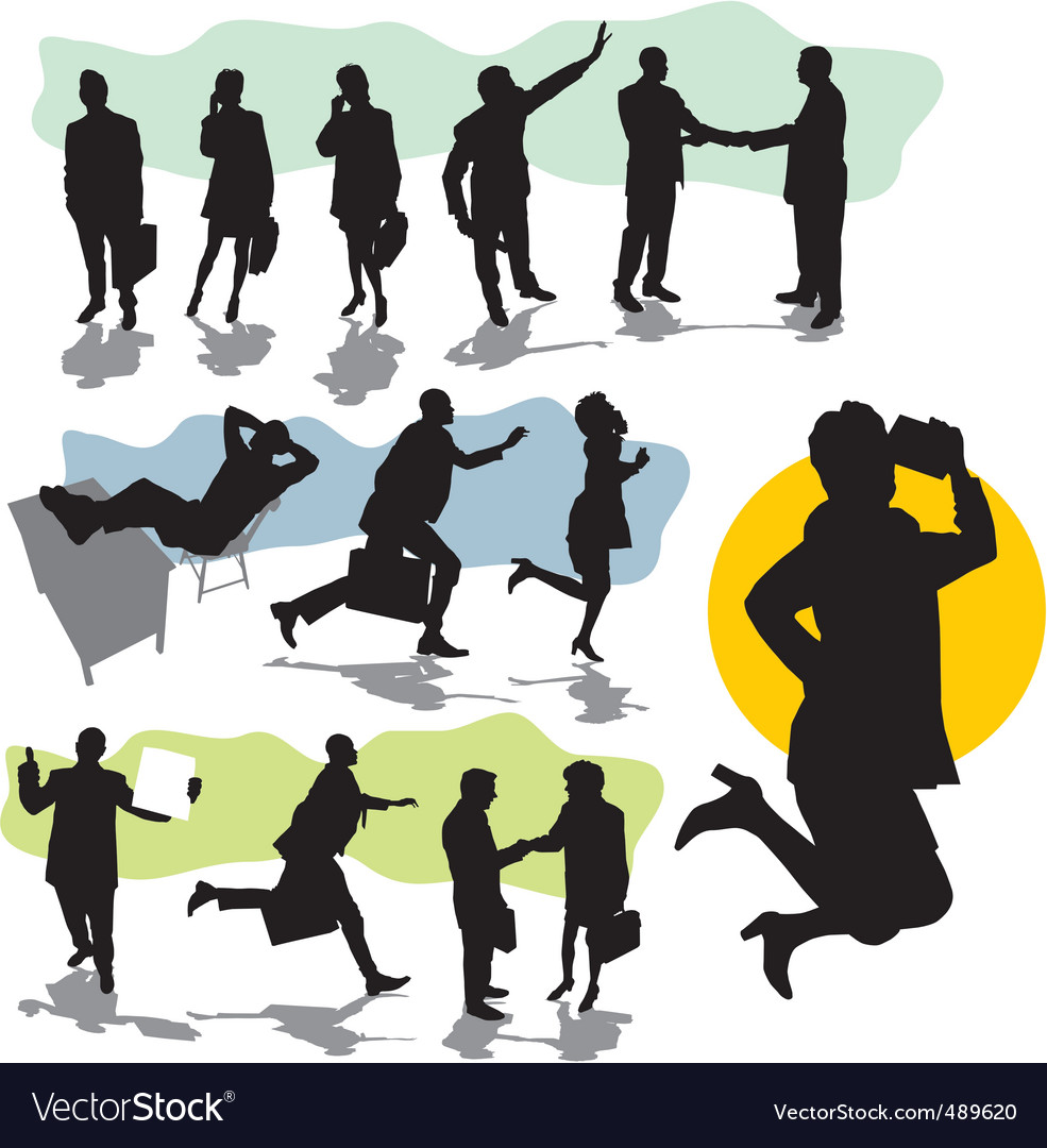 Set business people silhouette vector